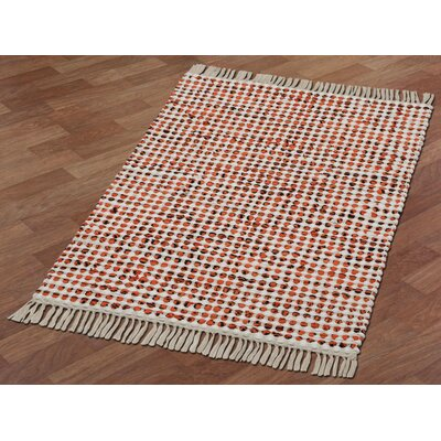 Complex Hand-Loomed Orange Area Rug Rug Size: 26 x 42