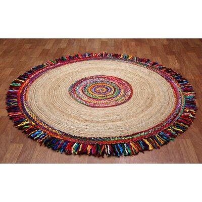 Brilliant Ribbon Round Racetrack Hand-Loomed Yellow/Red Area Rug Rug Size: Round 3