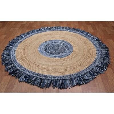 Latour Round Racetrack Hand-Loomed Blue/Gray Area Rug Rug Size: Round 3