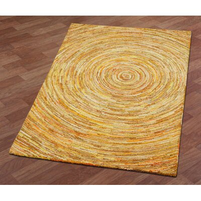 Brilliant Ribbon Hurricane Hand-Tufted Yellow Area Rug Rug Size: 4 x 6