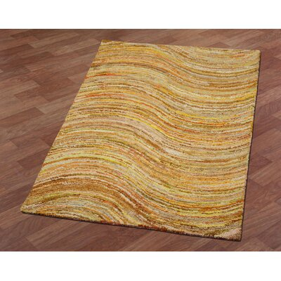 Brilliant Ribbon Wave Hand-Tufted Yellow Area Rug Rug Size: 8 x 10