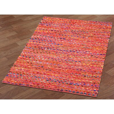 Complex Hand-Loomed Red/Blue Area Rug Rug Size: 4 x 6