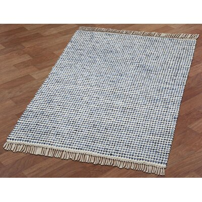 Complex Hand-Loomed Blue/White Area Rug Rug Size: 4 x 6