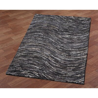 Brilliant Ribbon Wave Hand-Tufted Gray/Black Area Rug Rug Size: 4 x 6