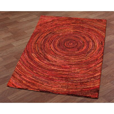 Brilliant Ribbon Hurricane Hand-Tufted Red Area Rug Rug Size: 4 x 6
