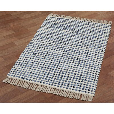 Complex Hand-Loomed Blue/White Area Rug Rug Size: 19 x 210
