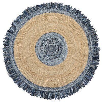 Latour Round Racetrack Hand-Loomed Blue/Gray Area Rug Rug Size: Round 6