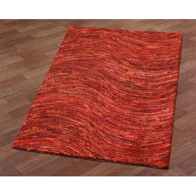 Brilliant Ribbon Wave Hand-Tufted Red Area Rug Rug Size: 4 x 6