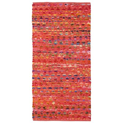 Complex Hand-Loomed Red/Blue Area Rug Rug Size: 26 x 42