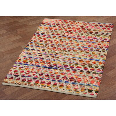 Complex Hand-Loomed Red/Orange Area Rug Rug Size: 26 x 42