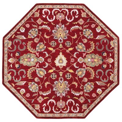 Traditions Hand-Tufted Red Area Rug Rug Size: Octagon 6