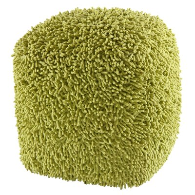 Hohl Shagadelic Chenille Pouf Ottoman Upholstery: Green
