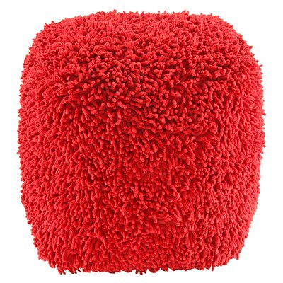 Hohl Shagadelic Chenille Pouf Ottoman Upholstery: Red