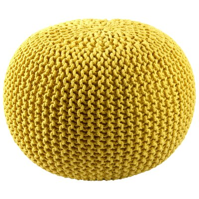 Anemone Rope Upholstered Pouf Ottoman Upholstery: Yellow