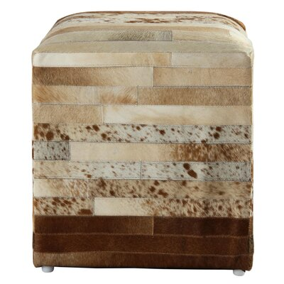 Glacier Striped Leather Pouf Ottoman