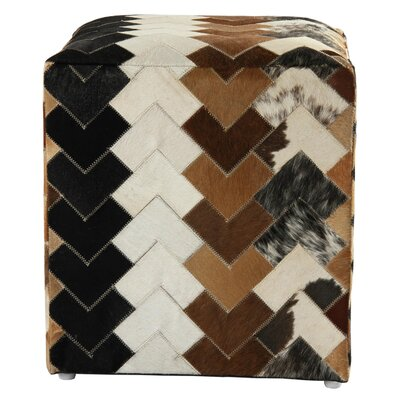 Great Falls Arrow Leather Pouf Ottoman