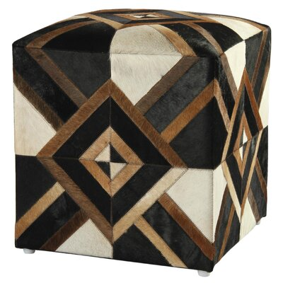 Riley Diamond Leather Pouf Ottoman