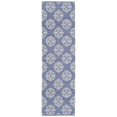 Jacquard Handmade Blue Area Rug Rug Size: Runner 26 x 8
