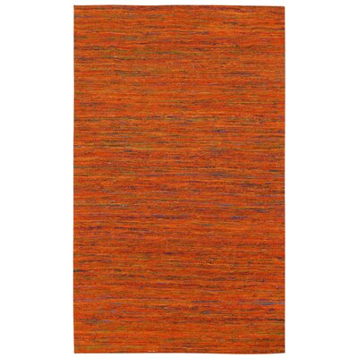 Sari Silk Handmade Orange Area Rug Rug Size: 5 x 8
