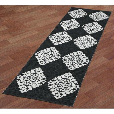 Jacquard Handmade Black Area Rug Rug Size: Runner 26 x 8