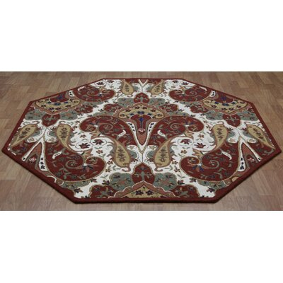 Structure Hand-Tufted Red Area Rug Rug Size: 5 x 8