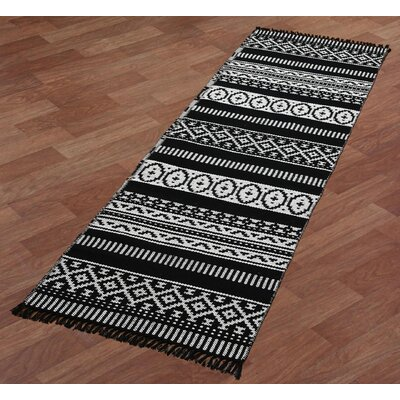 Complex Hand-Woven Black/White Area Rug Rug Size: Runner 26 x 12