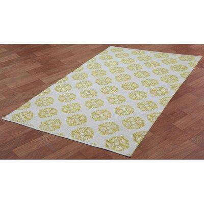 Jacquard Handmade Yellow Area Rug Rug Size: 3 x 5