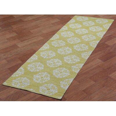 Jacquard Handmade Yellow Area Rug Rug Size: Runner 26 x 8