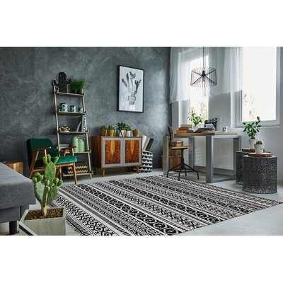 Complex Hand-Woven Black/White Area Rug Rug Size: 3' x 5'