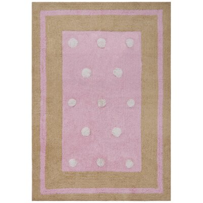 Carousel Pink Border Dots Area Rug Rug Size: 26 x 42