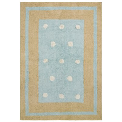 Carousel Blue Border Dots Area Rug Rug Size: 26 x 42