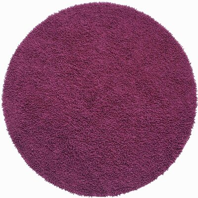 Baugh Hand Woven Purple Area Rug Rug Size: Round 5