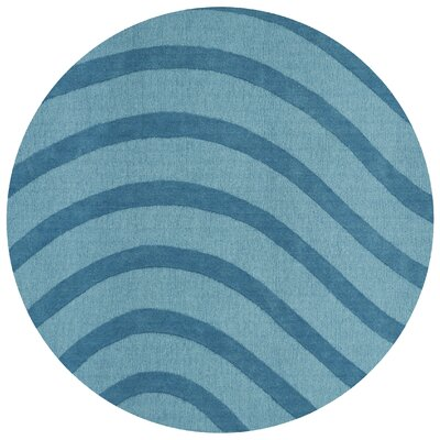 Transitions Hand-Tufted Turquoise Area Rug Rug Size: Round 6