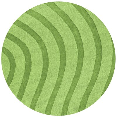 Transitions Light Green Waves Rug Rug Size: Round 6