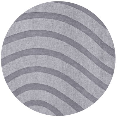 Transitions Light Gray Waves Rug Rug Size: Round 6