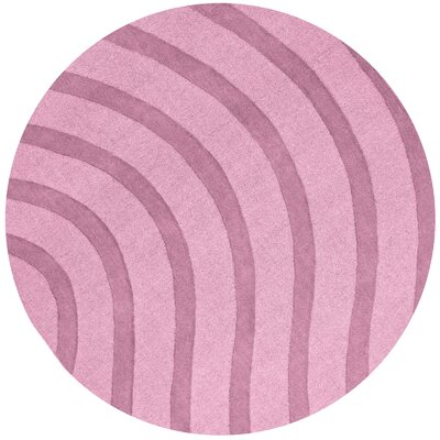 Transitions Light Pink Waves Rug Rug Size: Round 8