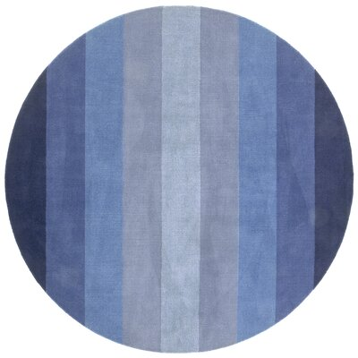 Degarmo Blue Stripes Area Rug Rug Size: Round 8