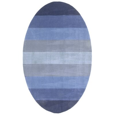 Degarmo Blue Stripes Area Rug Rug Size: Oval 5 x 8