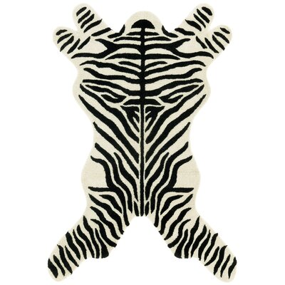 Safari Zebra Black/White Area Rug Rug Size: 5 x 8