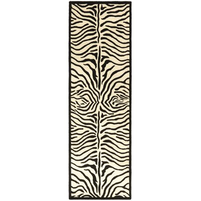 Safari Zebra Black/White Area Rug Rug Size: Runner 26 x 12