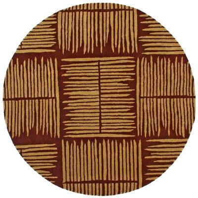 Structure Thatch Burgundy Rug Rug Size: Round 8