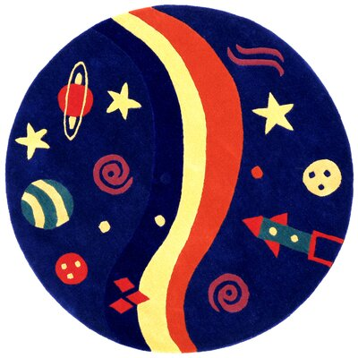 Playful Space Explorer Navy Area Rug Rug Size: Round 5