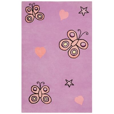Playful Purple Butterfly Kisses Rug Rug Size: 5' x 8'