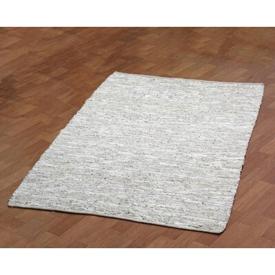 Sandford Leather Chindi Grey Area Rug Rug Size: 4 x 6