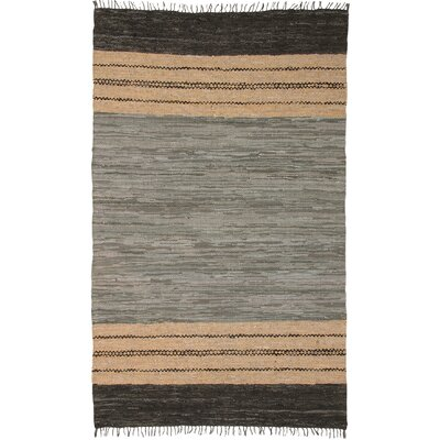Matador Leather Chindi Gray/Dark Brown/Tan Rug Rug Size: 26 x 42