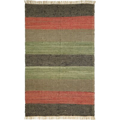 Matador Striped Leather Chindi Black Area Rug Rug Size: Runner 25 x 12