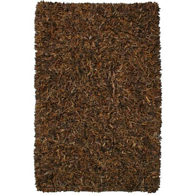 Pelle Leather Brown Area Rug Rug Size: 26 x 42