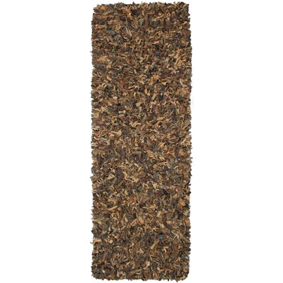 Baum Leather Brown Area Rug Rug Size: Runner 26 x 8