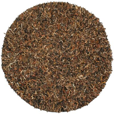 Baum Leather Brown Area Rug Rug Size: Round 8