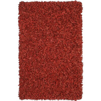 Pelle Leather Red Area Rug Rug Size: 5 x 8